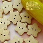 Star 21mm Wood Buttons Sewing Scrapbooking Craft NCB031
