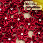 Wine Polyester Ribbons Floral With Bead Sewing Scrapbooking Appliques JM9B