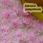 Pink Hard Orange Flower With Beads Sewing Scrapbooking Appliques Trims JMOG