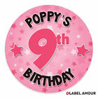 20 Personalised Birthday Stickers / Labels | Select name, age and colour
