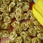 Golden Satin Ribbon Roses 15mm Appliques Scrapbooking Sewing Craft JMSR11