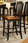 SET OF 4 CHELSEA WOOD COUNTER HEIGHT STOOL DINING KITCHEN CHAIR IN BLACK & BROWN