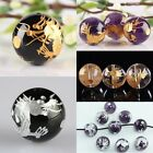 Carved Golden Silvery Dragon 14mm Round Loose Beads AGATE CLEAR CRYSTAL AMETHYST