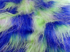 LONG Pile Fun Faux Fur Fabric Material ROYAL/LIME/LILAC MIX