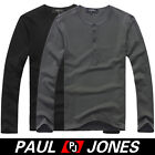 Stylish Men Casual Long sleeve Slim fit T-shirt half Button front Cotton&Spandex