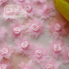 Pink Organza Flower With Rose 30mm Sewing Scrapbooking Appliques JMOR