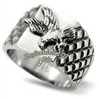 New Stainless Steel Men's Soaring Eagle Textured Band Ring - Size 8-13