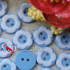 Light Blue 2 Holes 12mm Flower Plastic Buttons Sewing Craft Scrapbooking PCB-A07