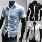 US D01 New Mens Sexy Casual Slim Fit Short Sleeves Dress Shirts 3 COLOUR