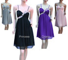 Purple Black Pink Grey Chiffon Cocktail Evening Bridesmaid Dress SZ 22 to 8 New
