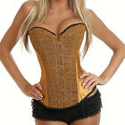 NEW Women's Sexy Satin Lace up Hook Corset Bustiers lingerie G-string Steel bone