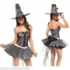 ☆ NEW Ladies 3 Piece Sexy Deluxe Witch Halloween Fancy Dress Costume Outfit ☆