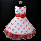 USAR1525 Reds Easter Pageant Party Flower Girls Dress Sz 3,4,5,6,7,8,9 Years