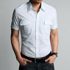 New Attractive Men's Short Sleeve Fitted Stylish Dress Shirts Tops With Pockets