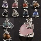 18KGP Crystal Gemstone GEMS Winding Dragon Charms Pendant Ball Bead Fit Necklace