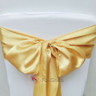 Gold Satin Chair Cover Bow Sash Wedding Party Decor Banquet WED-SCS-36