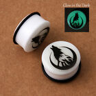 Glow in the dark Howling Wolf Moon Acrylic single flare o ring ear plugs AP-514