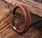 Men's COOL Metal Clasp Double Band Vintage Leather Wristband Bracelet Cuff Brown
