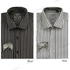 Men's Unique Casual Fashionable Stripe Dress Shirt Black/White NWT