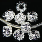 Bulk Sale Silver Plated Rose Charms European 10x10x9mm Beads Loose Fit Bracelet