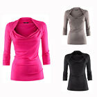 NWT Slim 3/4 Sleeve Polyester Womens Pull Over Blouse top 3 Colors S-XXL