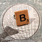 ♥FUNKY WOODEN VINTAGE SCRABBLE STYLE BRASS RING CUTE KITSCH INITIAL LETTER BOHO♥