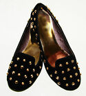 LADIES WOMENS BLACK FAUX SUEDE STUD STUDDING DETAIL LOAFERS SLIP ON SHOES