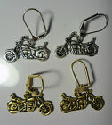 Motorcycle Earrings Silver or Gold toned Biker Leverback Dangle Handmade New