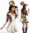 ☆ NEW Ladies 6 Piece Mad Hatter Alice in Wonderland Fancy Dress Costume Outfit ☆