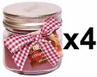 4 x 4oz JAR SCENTED CANDLE WITH BOW AND LID - ISLAND BREEZE, CINNAMON, VANILLA