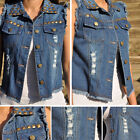 Ripped denim Vest with Bronze Studs S M L FAST-FREE SHIPPING V1210