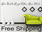 LIVE WELL, LAUGH OFTEN, LOVE MUCH. vinyl wall decal sticker home decor art quote