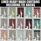 LINED HALF PANAMA READY MADE CURTAINS WITH TIE-BACKS - 4 STYLISH PRINTED DESIGNS