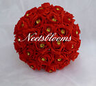 Red Rose and Gold  Brides Bridesmaids Wedding Bouquet