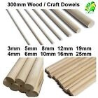 10 pack of 300mm Hardwood Wooden Dowels / Craft Sticks / Poles - Pick How Thick