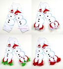 XMAS Baby Girls White Snowman Leg Warmer Legging with Ruffles and Bow Ribbon