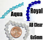 100x  Bicone crystal beads -  Aqua, Clear AB, or Royal Blue for crafts & jewelry