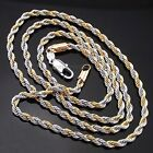 18k white/yellow gold GP Rope Chain woman man Necklace 3mm 18-23.6 inch