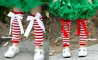 Xmas Baby Girls kids Red White Striped Cotton Leg Warmer Legging wif Bow Ribbon