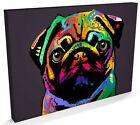 Pug Dog Pop Art Print, Box CANVAS A3 to A1 -v127