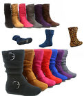 Girl's Kid's Cute Zipper Flat Heel  Mid Calf  Slouchy Boot Shoes 9 - 4, 6 Colors