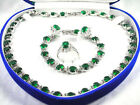 Green Cubic Zirconia Gem 18KWGP Crystal Necklace Bracelet Earrings Ring Set