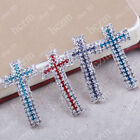 3pcs red aqua clear crystal pave cross connector link fit macrame bracelet DIY