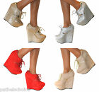 LADIES GLITTER SPARKLY SHIMMER PLATFORM HIGH WEDGE HEELS SHOE ANKLE BOOTS BOOTIE