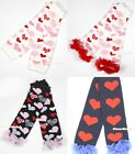 Valentine Style Baby Girls Heart Cotton Leg Warmer with Ruffles for Pettiskirt