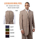 Men's Milano Moda Luxurious Wool Feel Back Center Split 3pc Suits sty- 5263