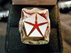 Classic 1960s Style RED CHRYSLER PENTASTAR LOGO Closionne Nickel Silver Ring