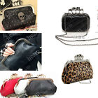 Skull Knuckle Duster Ring Clutch rhinestone evening case Handbag purse cocktail