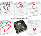 PERSONALISED Small CRYSTAL Block LOVE Romantic Gift For HIM Her Anniversary Wife