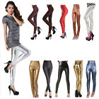 Womens Sexy Faux LEATHER Wet LOOK HIGH WAISTED/Waist JEGGINGS/LEGGINGS Pants S-L